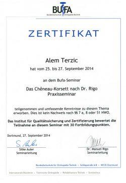 Zertifikat BUFA Terzic
